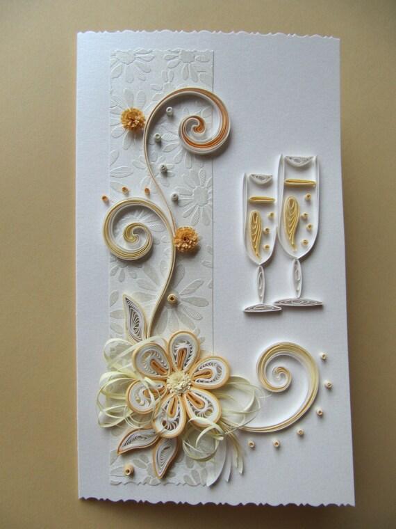Biglietti Auguri Matrimonio Quilling : Partecipazione di nozze oro anniversario auguri compleanno