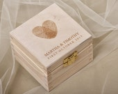 Fingerprint Wood Wedding Ring Bearer Box, Rustic Wooden Ring Box ,  Engraved  Bride and groom names,