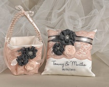 Flower Girl Basket & Ring Bearer Pillow Set, Bowl and lace , Embriodery Names,Custom Colors