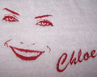 Personalised embroidered Face  bath towel (100% cotton)