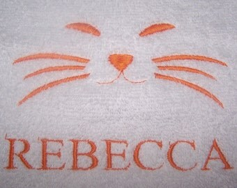 Personalised embroidered Cats face bath towel (100% cotton)