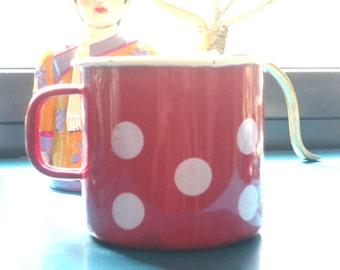 Tasse en émail rouge, pois blancs, tasse à café, vintage, années 1980