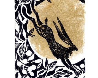 Original Linocut Print 'Moon Hare', hand printed and signed, hares and wildlife lino cut block print