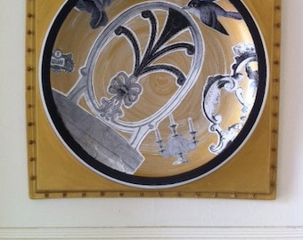 Thermo molded, white plastic, ceiling tile transformed to ceramic appearing decoupaged wall decor by MD.