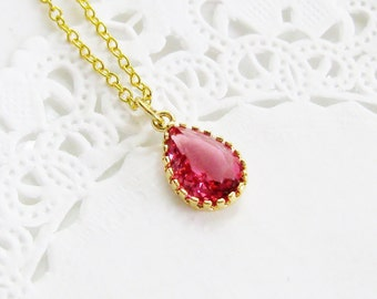 tiny pink crystal pendant necklace raspberry pink briolette pink teardrop pendant faceted pink crystal necklace pink and gold lovely finds