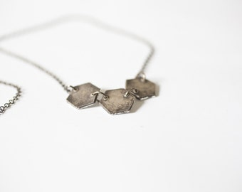 triple hexagon necklace - hexagon jewelry - hexagon necklace - sterling silver hexagon - geometric necklace - geometric jewelry