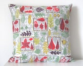 Botanical Leaves Pillow - Vintage 50s Fabric Cushion Cover