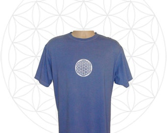Organic shirts- Mens Organic Cotton T shirt Hand dyed with white Flower of Life You choose size and color