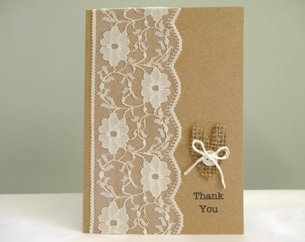 Rustic wedding thank you cards - burlap and lace shabby chic wedding - 4x6 recycled kraft cards - vintage wedding - hessian and lace - uk