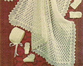 Baby Blanket Shawl Booties, Bonnet, hat, shoes,Gift Set lace British Knitting Pattern PDF