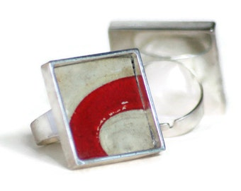 Red Swipe Ring Square Silver Vintage License Plate Cream Red Adjustable