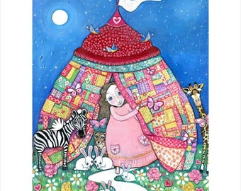 Girls Childrens room A3 art Print circus patchwork quilt tent rabbit zebra giraffe nursery wall decor whimsical folk art childrens picture