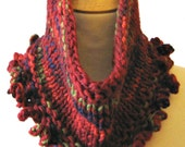 Chunky Knit Cowl Scarf PATTERN  Instant Download - Fast Easy Knitting DIY with Simple Crochet Edging