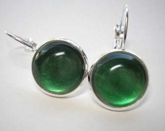 Ready To Ship Today - Emerald Green Shimmer - 12mm Leverback Drop Earrings in Shiny Silver