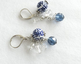 Double Happiness Blue & White Beads with Crystals Earrings