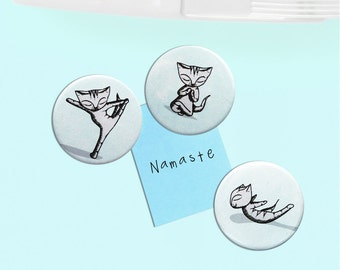 Cat Fridge Magnets - yoga bikram namaste instruction present crazy cat lady x 3
