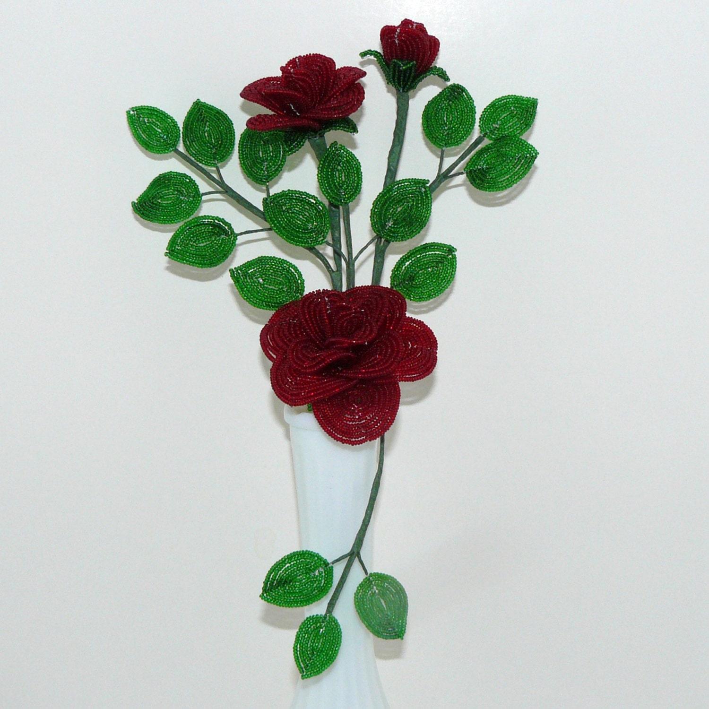 beaded flowers roses in milk glass vase
