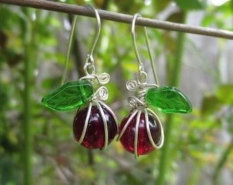 Ruby Red Apple Glass Earrings - Teacher's Gift - Graduation, Teacher Appreciation, Czech Glass, Sterling Silver Wire Wrapped Jewelry, Women