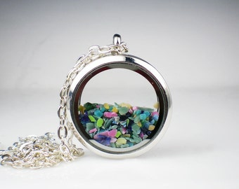 Floating Glass Locket Necklace Pink, Aqua, Yellow, Green & Blue Glass Jewelry