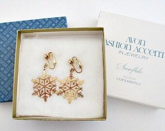 Vintage 1977 Avon Snowflake Dangle Clip On Earrings in the Original Box