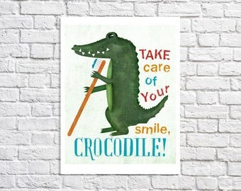 Brush Your Teeth Print Crocodile Art Colorful Children's Bathroom Reminder Jungle Themed Boys Bathroom Rules Sign Cute Dental Office Decor