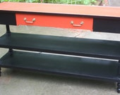 Black and Orange Retro Style Painted Console Sofa Table