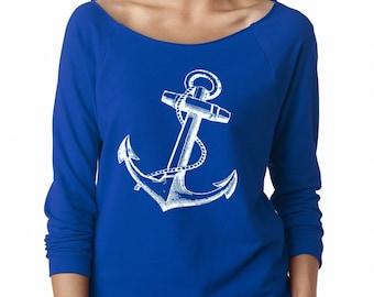 Womens Anchor Sweatshirt Nautical Clothing Cute Sweat Shirts Anchors Away Long Sleeve Tops Active wear for the gym Fall Fashion
