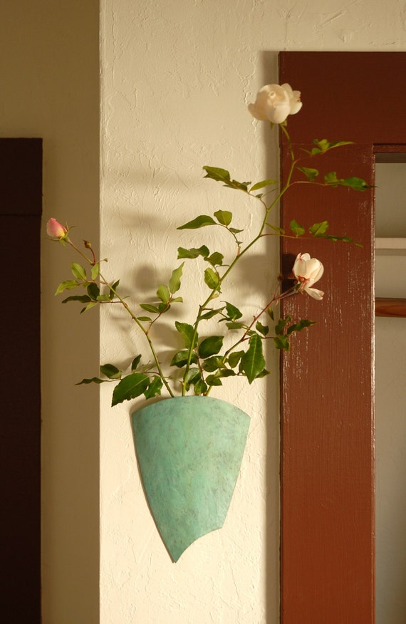 Wall Sconce Vases For Flowers : Flower Sconce Shield small patinaed brass wall vase / wall