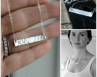 Bar Necklace, Silver Initial Necklace, Personalized Gift Small, Dainty, Hammered, Typewriter Font, Everyday Necklace, Mom Necklace, Sterling