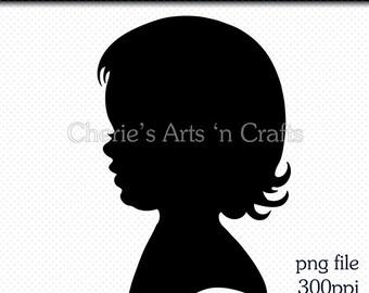 Little Girl Silhouette, Silhouettes, Children Silhouettes, Child Silhouette, Girl PNG Graphics, Digital Images, Digital Download Clip Art