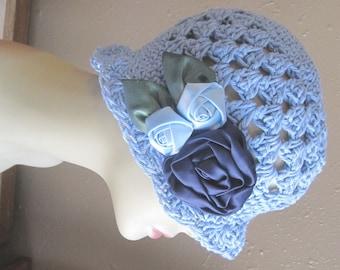 Cornflower Blue Natural Cotton Cloche 1920s Flapper Hat Navy Roses