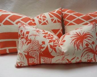 11 x 22  Quadrille Lyford Pagoda Petit Toile Orange Ivory China Seas Linen Pillow Cover Sofa Chinoiserie Chic Alan Campbell