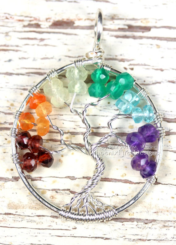 Rainbow Tree of Life Pendant in Sterling Silver Wire Wrapped Chakra LGBTQ Pride Love