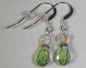 Peridot Swarovski Teardrop Earrings on Sterling Silver Ear Wires