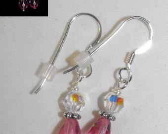 Rose Swarovski Teardrop Earrings on Sterling Silver Ear Wires