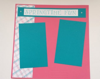 PREMADE SCRAPBOOK Page Layout / Spring Time Fun / Hand Stamped Plaid / 1 page 12x12 inches