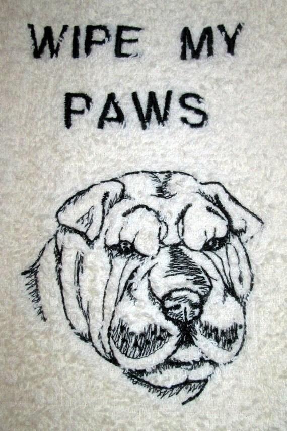 Shar Pei Wipe My Paws Ivory Bath Hand Towel