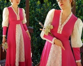 RENAISSANCE 1960's 70's Vintage Rose Pink Maxi Dress Gown with Long Cream Lace Sleeves // size Small