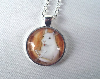 Rabbit with a Martini - Unique Handmade Round Bunny Pendant