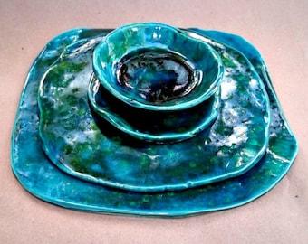 Ceramic four piece Sushi Set Malachite Green