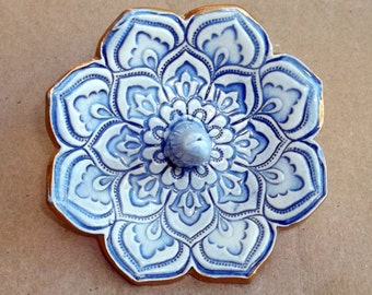 Pale Blue and White Lotus Ring Holder Bowl with gold edging