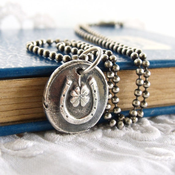 Shoe Charm Bracelet: Horse Shoe Necklace Equestrian Jewelry Lucky Charm Four