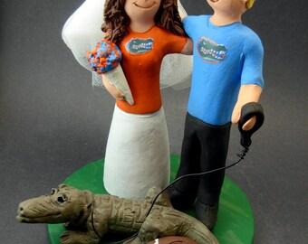 Florida Gators Football Wedding Cake Topper, Florida Gators Wedding Anniversary Gift/Cake Topper, Gators NFL Football Wedding Cake Figurine,