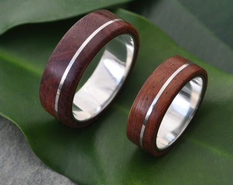 Asi Guapinol Wood Ring - sustainable wood wedding ring in rosewood, ecofriendly recycled sterling, wood wedding band