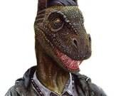 "Dino Step Up Fade Cut 8.5 x 11"" print by Ray Young Chu (dinosaur haircut fade)"