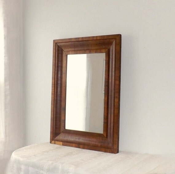 Vintage Wood Mirror In Large Ogee Mahogany By