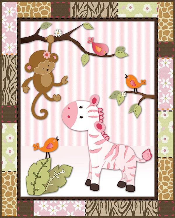 Jungle jill wall decor : Set of four pink jungle animal nursery wall by