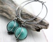 Caged Turquoise Hoop Earrings Oxidized Silver