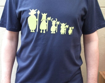 Personalised Mens Viking Family  Organic Cotton T shirt