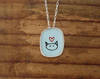 Love Kitty Necklace - Sterling Silver and Vitreous Enamel Cat Pendant